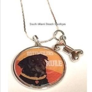Silver Rottweiler Dog Bone Necklace Breed Rescue